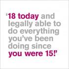 18th Birthday Card - Legally Able